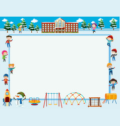 Border template with kids at school vector