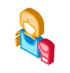 Boxer woman isometric icon vector