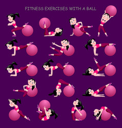 Cartoon girl in pink suit doing fitness exercises vector