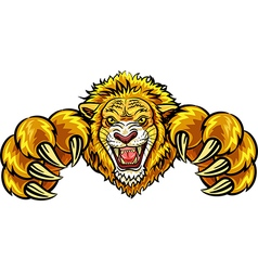 Cartoon of angry lion mascot vector image vector image