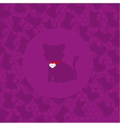 cat silhouette over purple background vector image