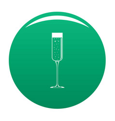 Champagne glass icon green vector