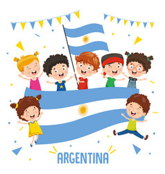 children holding argentina flag vector image