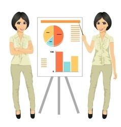 Chinese businesswoman standing near flip board vector
