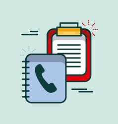 clipboard checklist address book supply office vector image