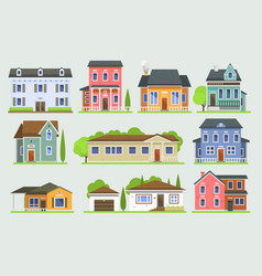 cottage house facede city street view vector image