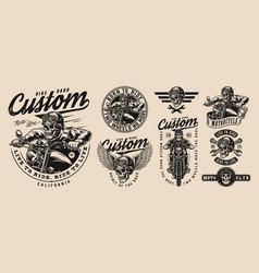 custom motorcycle vintage monochrome emblems vector image