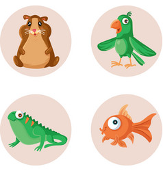 cute mascots and pet shop icons set vector image