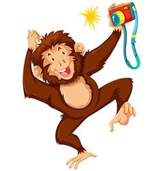 Cute monkey using camera vector image