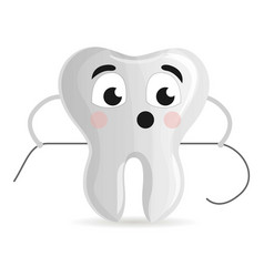 cute tooth with floss icon cartoon style vector image