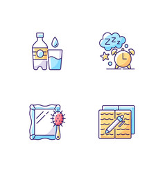 Daily schedule and routine rgb color icons set vector