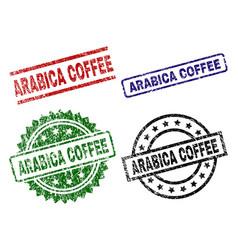 Damaged textured arabica coffee stamp seals vector