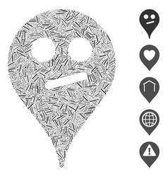 Dash mosaic doubt smiley map marker icon vector