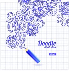 Doodle floral design vector image