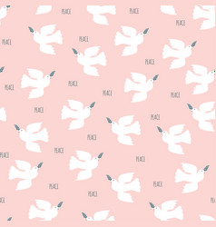 dove and olive branch seamless pattern israel vector image