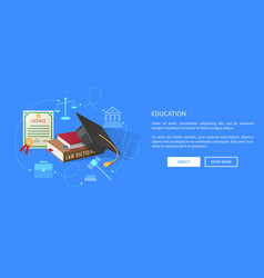Education web banner with lawyers licence books vector