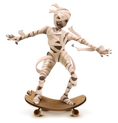 Egyptian cartoon mummy monster roll on skateboard vector