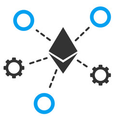 Ethereum network nodes flat icon vector