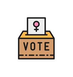 Female sign on ballot women voting feminism vector