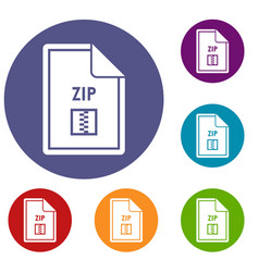 file zip icons set vector image