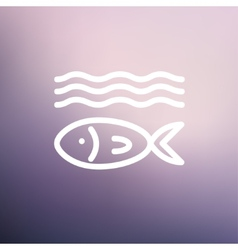 Fish under water thin line icon vector