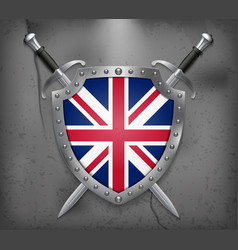 flag of united kingdom the shield with national vector image