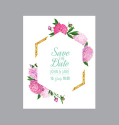floral wedding invitation template pink peonies vector image