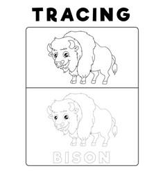 Funny bison tracing book with example preschool vector