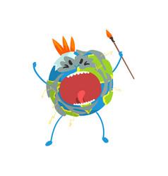 Furious cartoon earth planet character screaming vector