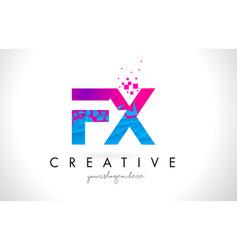 Fx f x letter logo with shattered broken blue vector