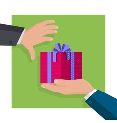 Giving Gifts Concept in Flat Design vector image