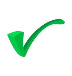 Green tick check mark icon cartoon style vector