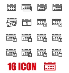 grey calendar icon set vector image