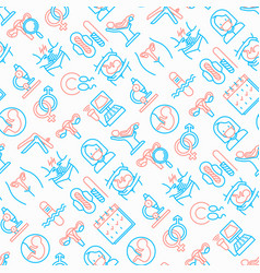 gynecologist seamless pattern with thin line icons vector image
