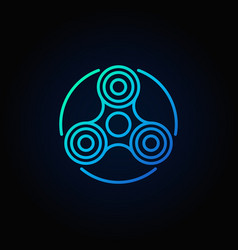 Hand fidget spinner blue icon vector