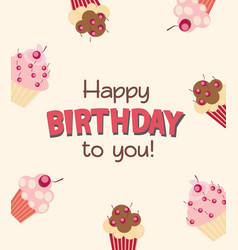 happy birthday card baner background with cak vector image