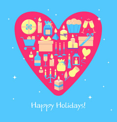 happy holidays banner template in flat style vector image
