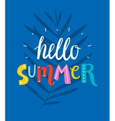 Hello summer blue card vector image
