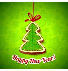 Honey cake Christmas tree on green background vector