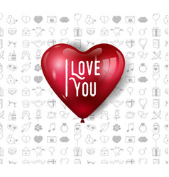 I love you design with big red balloon on white vector