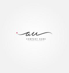 Initial letter au logo - hand drawn signature vector