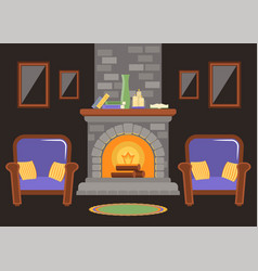 interior of a living room with a stone fireplace vector image