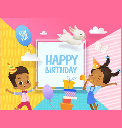 Joyous african-american boy and girl in birthday vector