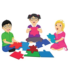 Kids Playing Puzzle vector
