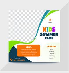 Kids summer camp instagram banner vector