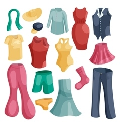 Kinds of clothing icons set cartoon style vector image