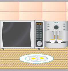 Kitchen interior in the early morning vector