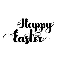 lettering happy easter black color isolated on vector image