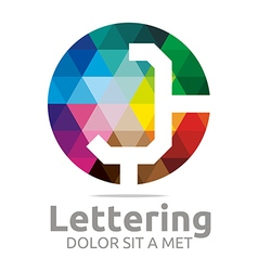 lettering j rainbow alphabet design vector image