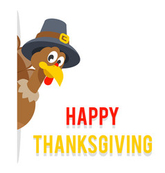 look out of corner thanksgiving turkey in pilgrim vector image